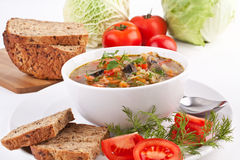 Cabbage and mushroom soup Stock Photo