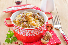 Cabbage with mushrooms Stock Image