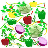 Cabbage pepper onions haricot parsley Stock Photo