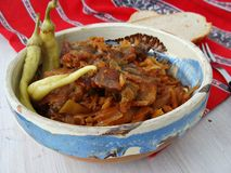 Cabbage with pork. Transylvanian cabbage with pork and pickled chili peppers Royalty Free Stock Photography