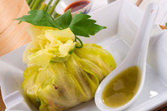Cabbage with rice bags Royalty Free Stock Photos
