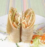 Cabbage rolls. Cabbage salads rolls in flour tortillas royalty free stock images