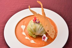 Cabbage rolls with mixed salad on white plate Royalty Free Stock Images