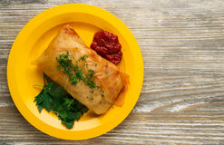 Cabbage rolls on a plate. cabbage rolls top view Stock Photo