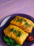 Cabbage rolls on a plate. cabbage rolls top view Royalty Free Stock Photography