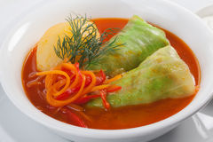 Cabbage rolls on a plate with potatoes and tomato sauce isolated on white background close-up for menu Royalty Free Stock Photos