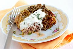 Cabbage rolls with rice and veal Royalty Free Stock Photography