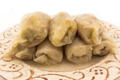 Cabbage rolls with sauerkraut on a plate Royalty Free Stock Photos
