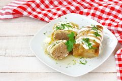 Cabbage rolls with sour cream and minced meat Royalty Free Stock Photo