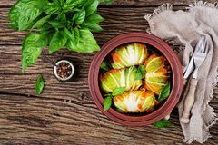 Cabbage rolls stuffed with rice with chicken fillet in tomato sauce. On a wooden background. Tasty food. Top view. Flat lay stock photo