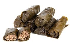 Cabbage rolls. Tasty cabbage rolls isolates on white background Royalty Free Stock Photos