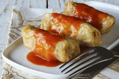 Cabbage rolls with tomato sauce Royalty Free Stock Photography