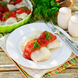 Cabbage Rolls with Tomato Sauce and Dill Royalty Free Stock Photo
