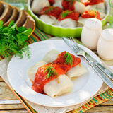 Cabbage Rolls with Tomato Sauce and Dill royalty free stock image
