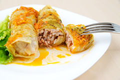 Cabbage rolls. On a white plate stock images