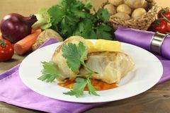 Cabbage roulade with potatoes Stock Photography