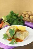Cabbage roulade with potatoes and sauce Royalty Free Stock Images