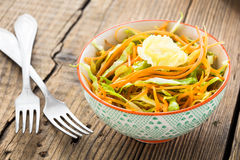 Cabbage salad with carrot in bowl Royalty Free Stock Photography