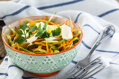 Cabbage salad with carrot in bowl Stock Photography