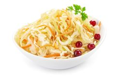 Cabbage salad with carrots, in white bowl.  Royalty Free Stock Images