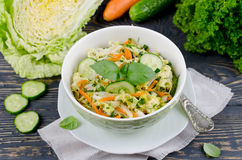 Cabbage salad with cucumber and carrots Royalty Free Stock Photos
