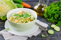 Cabbage salad with cucumber and carrots Stock Photography
