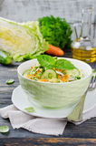 Cabbage salad with cucumber and carrots Stock Photos