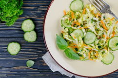 Cabbage salad with cucumber and carrots Royalty Free Stock Photography