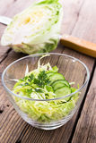 Cabbage salad in glass bowl Stock Photography