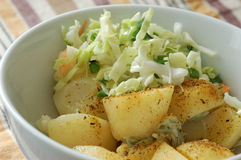Cabbage salad and potato. With  spice Royalty Free Stock Images