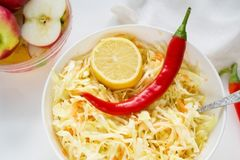 Cabbage salad with spicy red pepper and carrot royalty free stock image