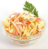 Cabbage Salad. Tasty diet vegeterian salad with carrots on white Stock Images