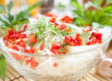 Cabbage Salad With Green And Red Pepper Stock Image