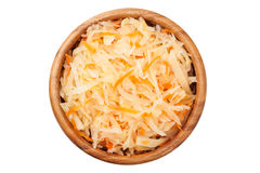 Cabbage salad in wooden bowl. Stock Photos