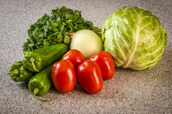 Cabbage salsa vegetables. Fresh cabbage salsa vegetables on the kitchen counter Stock Photos