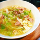 Cabbage Sausage Soup Stock Photo