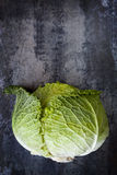Cabbage on Slate Overhead View Stock Image