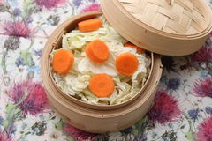 Cabbage. Some white cabbage and carrots in a cooking pot Royalty Free Stock Images