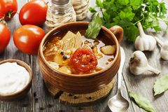 Cabbage soup with meat royalty free stock photo