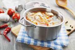 Cabbage soup with meat stock photo