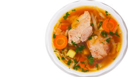 Cabbage soup with meat. top view. isolated. On white royalty free stock images
