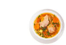 Cabbage soup with meat. top view. isolated. On white Royalty Free Stock Photos