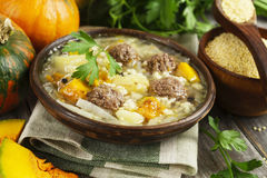 Cabbage soup with meatballs and pumpkin Stock Photography