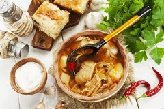 Cabbage soup and pie stock image