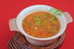Cabbage soup. Tasty dish on red background stock photo