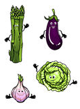 Cabbage, spinach, eggplant and garlic Royalty Free Stock Photo