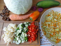 Cabbage stew cooking, vegetables recipes Royalty Free Stock Photo