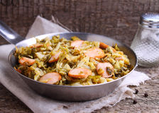 Cabbage stew with sausages Royalty Free Stock Images
