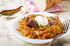 Cabbage stew with Smoked Pork Ribs and cream Stock Image