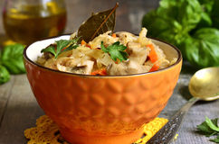 Cabbage stewed with mushrooms. Stock Photography